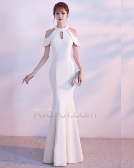 マーメイド ロング フォーマル イブニングドレス エレガント シンプル な バックレス 白い ノースリーブ ホルター サテン 20170915998