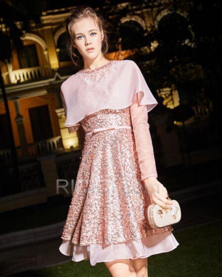 キラキラ ミニ ゴージャス セミ フォーマル ピンク 成人式ドレス チュール Aライン スパンコール 長袖 カクテル ドレス 20180306461