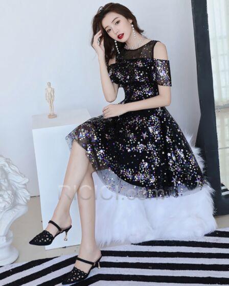 フレア キラキラ フリル チュール カクテル ドレス ブラック キャバ ドレス スパンコール 20720180928