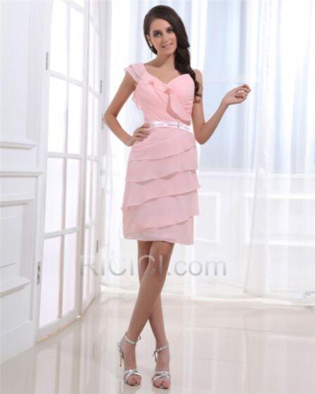 エンパイア シフォン ピンク ジュニア 卒業 式 カクテル ドレス v ネック ノースリーブ ミニ フリル 可愛い 21420171011
