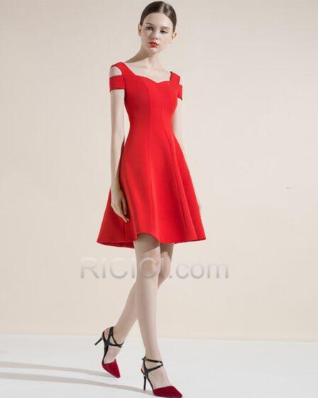 カクテル ドレス バックレス 結婚式ドレス ショート セミ フォーマル 中空アウト 赤い シンプル な エレガント パーティー ドレス 24620180806