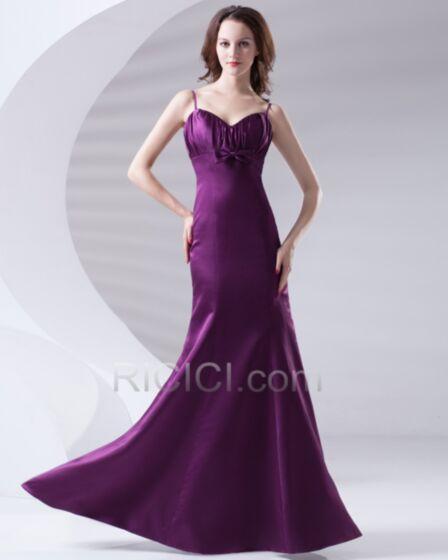 シース ロング 結婚式ドレス 古着 バックレス スパゲッティ ダーク パープル ノースリーブ ブライズメイドドレス シンプル な 28320171010