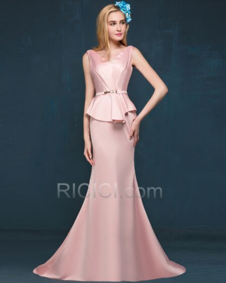 フォーマル イブニングドレス シンプル な サテン ピンク ペプラム エレガント v ネック ノースリーブ 28720180522