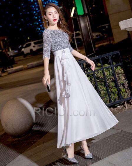 フレア エンパイア 卒業 式 ドレス セミ フォーマル カクテル ドレス 二次会 パーティー ドレス キラキラ スパンコール 白い ハーフスリーブ シンプル な マキシ シフォン 29120181204