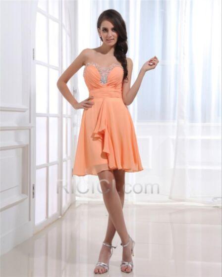 シンプル な フリル 結婚 式 お呼ばれ ドレス ノースリーブ ショート フレア ビーズ オレンジ ジュニア エンパイア カクテル ドレス 30320171010