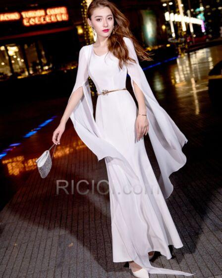 イブニングドレス シンプル な シフォン 長袖 エレガント ホワイト 35320181207