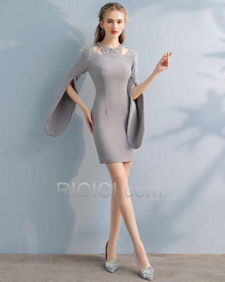 カクテル ドレス ミニ エレガント シンプル な シース 長袖 セミ フォーマル シルバー 43120180422