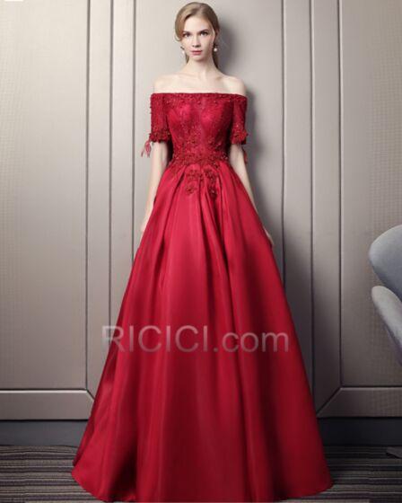 プロムドレス セクシー バックレス ビーズ イブニングドレス ワインレッド パーティー ドレス フレア ストラップ レス 成人式 46220180623