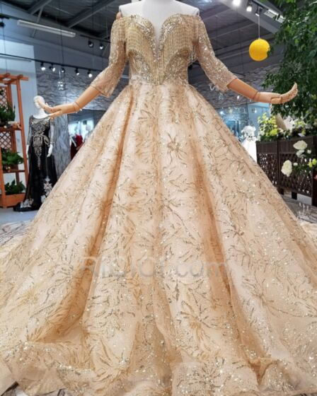 深 v ネック フリンジ スパンコール ゴールド グリッター キラキラ 豪華 な トレーン クリスタル ウエディング ドレス オープンバック 53320181108