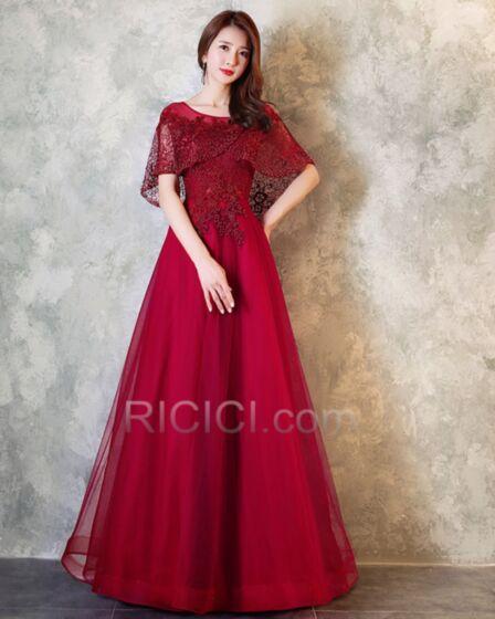 チュール エレガント フォーマル ドレス ロング バックレス マタニティ 結婚式 母親 ドレス ワインレッド レース 60820180927