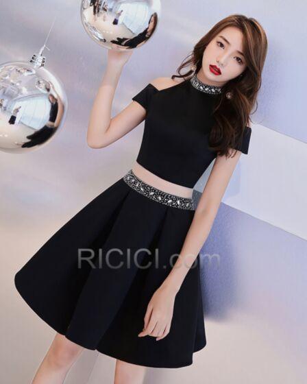 2 ピース クロップトップ ブラック セミ フォーマル ドレス ハイネック ビーズ ミニ セクシー カクテル ドレス ジュニア パーティー ドレス 62920180928