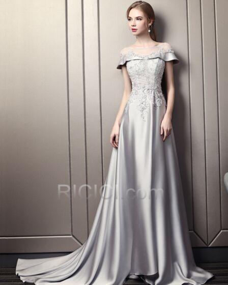 プロムドレス オープンバック エレガント イブニングドレス サテン シルバー ストラップ レス 67520180623