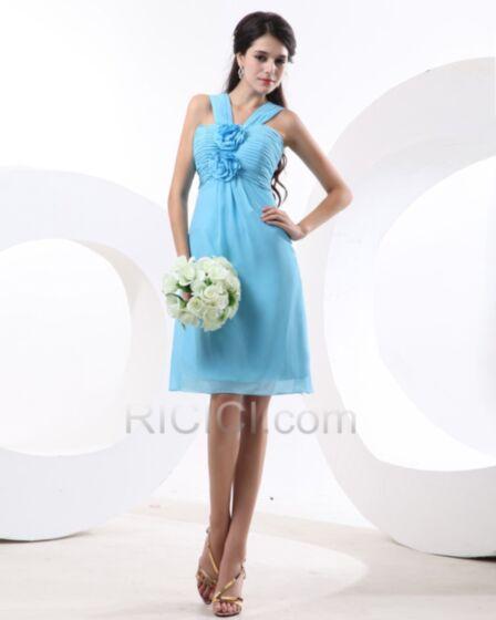 可愛い バックレス ホルター ブライズ メイド ドレス シフォン 3Dフラワー シンプル な スカイブルー 結婚式ドレス プリーツ 70020171010