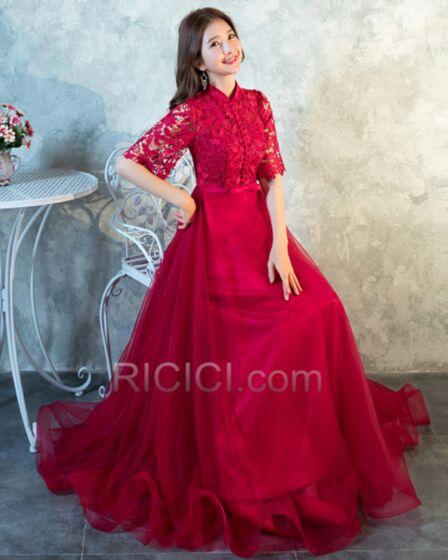 結婚式 母親 ドレス フレア ハーフスリーブ ハイネック フォーマル イブニングドレス レース 71520180926