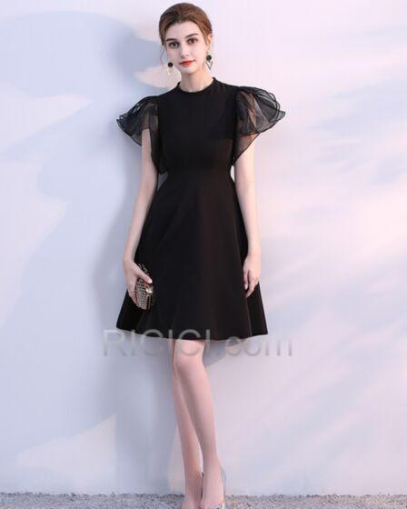 フリル ジュニア シフォン ブラック セミ フォーマル ドレス オーガンザ A ライン ミニ シンプル な カクテル ドレス 77320180623