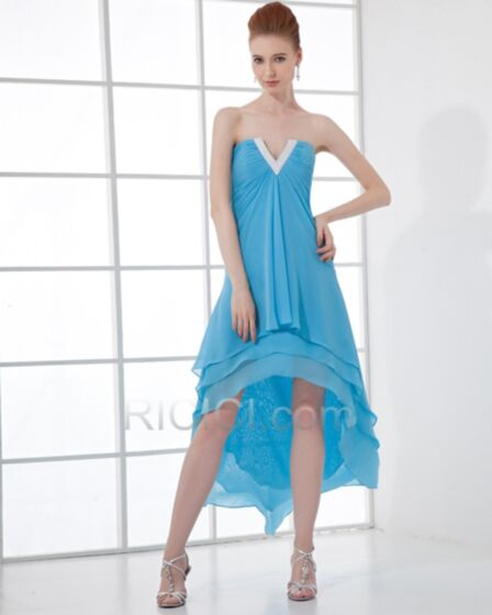 お呼ばれ ドレス カクテル ドレス スカイブルー シンプル な オフショルダー シフォン バックレス ノースリーブ エンパイア 83220171010