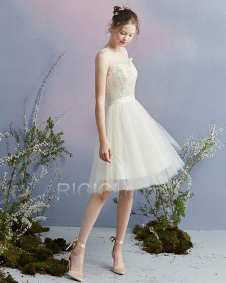 パーティー ドレス フレア シャンパンゴールド ミニ カクテル ドレス 86520180928