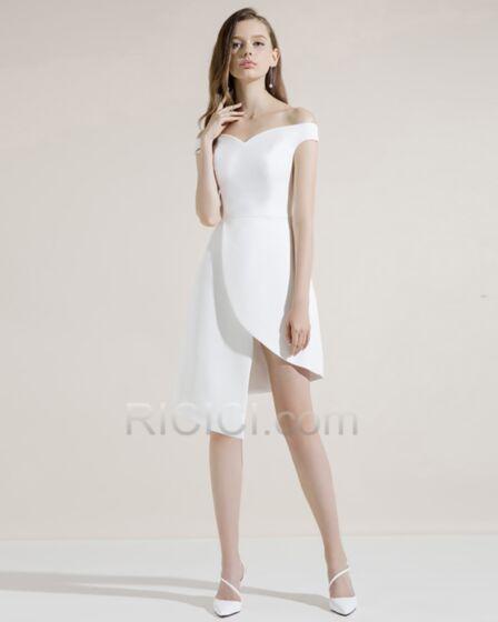 アシンメトリー サテン セミ フォーマル ドレス カクテル ドレス スリット ミニ 謝恩 会 白い シンプル な 89620180806