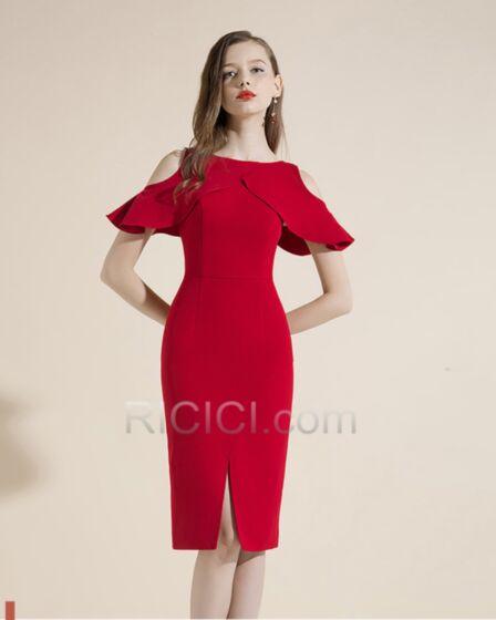半袖 カクテル ドレス 結婚 式 お呼ばれ ドレス スリット シンプル な エレガント 二次会 パーティー ドレス セミ フォーマル ドレス 89420180806