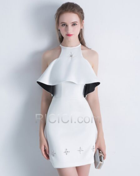 シース ショート カクテル ドレス クリスタル 卒業 式 ノースリーブ 白い ホルター シフォン ワンピース 90320180422