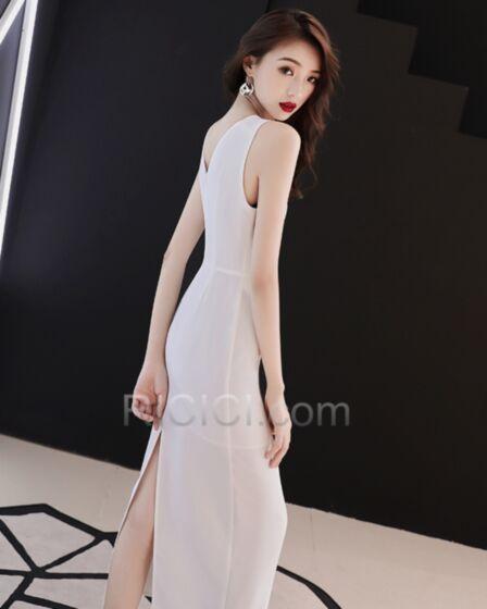 スリット シンプル な セミ フォーマル ミモレ丈 フォーマル イブニングドレス 白い シース シフォン 92420180928