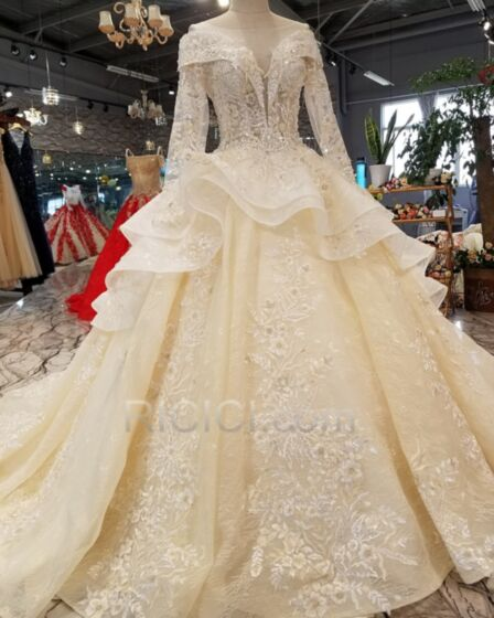 長袖 フリル バックレス チュール ペプラム プリンセス レース ロング ウエディング ドレス エレガント 93320181130