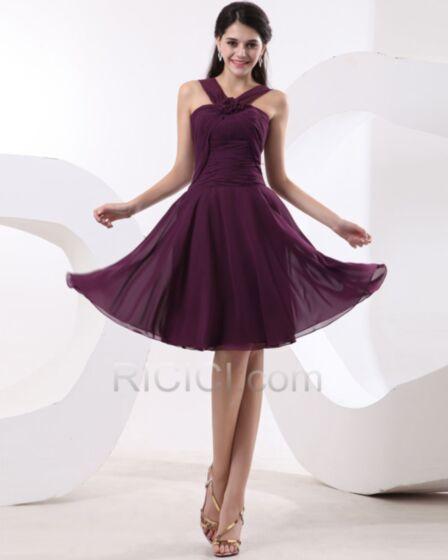 ノースリーブ ダーク パープル ブライズ メイド ドレス ホルター シンプル な フレア 結婚式ドレス ミニ バックレス 94620171010