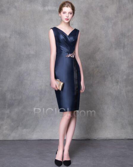 ノースリーブ エレガント カクテル ドレス セミ フォーマル ドレス v ネック ネイビー ミニ シース 95020180421