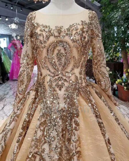フリル スパンコール ウェディングドレス プリンセス レース 刺繍 ロング ゴールド オーダーメイドサイズ 96420181031