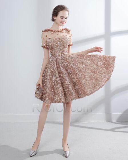 シースルー 膝丈 ボヘミアン 成人式ドレス パーティー ドレス 半袖 フレア 茶色 カクテル ドレス 99820180422