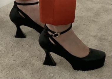 Ankle Strap Black Classic Chunky Heel Pumps 8 cm High Heel Platform Square Toe